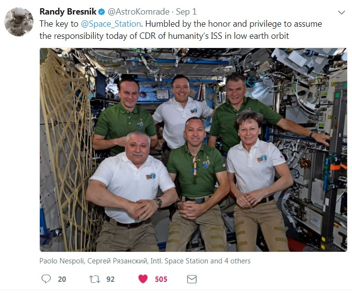 Bresnik becomes commander of ISS Citadel Class of 1989